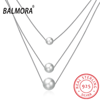 BALMORA 100 Real 925 Sterling Silver Jewelry Simulated Pearl Fashion Pendant Necklaces For Women Lover Gift