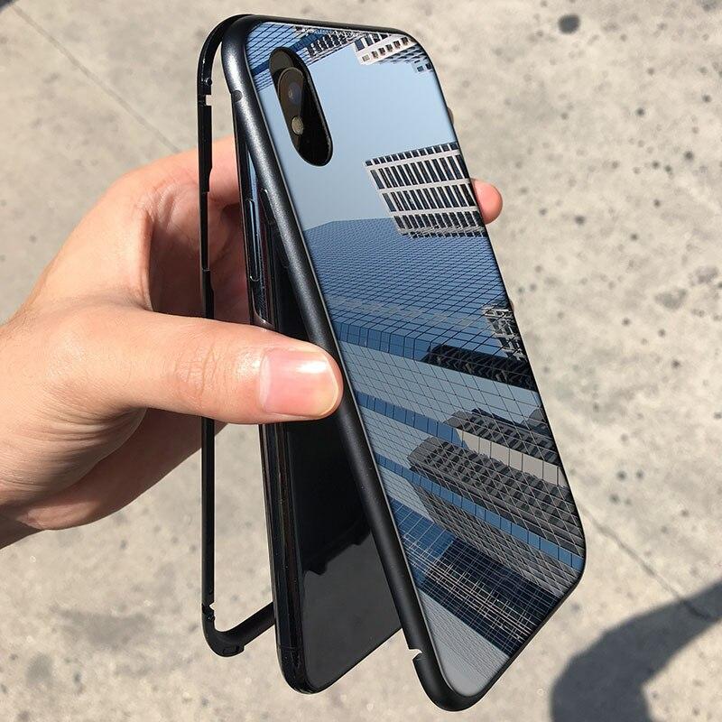 Für iPhone X 8 Magnet Absorption Aluminium Legierung Metall Rahmen Magneto Phone Cases Anti-Scratch Gehärtetem Glas Zurück Abdeckung