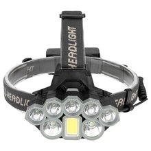 Светодиодный налобный фонарь Рыбалка 6 режимов сильный свет COB лампа водонепроницаемый Головной фонарь фонарик Головной фонарь