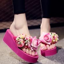 2018 Handmade Flower Pearl Wedges Women Flip Flops Outside Non-slip Beach Shoes Sandals Big Size 35-42
