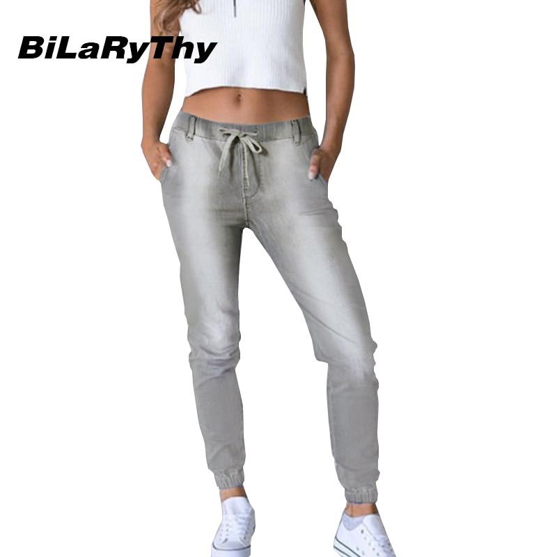 BiLaRyThy Casual Women Gray Denim Pants Boyfriend Style Mid Waist Jeans Fashion Trousers women jeans autumn new fashion high waisted boyfriend street style roll up bottom casual denim long pants sp2096