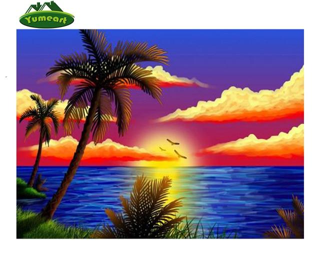 D Diy Berlian Lukisan Berlian Bordir Landscape Pemandangan Pantai Awan Berlian Mosaic Rhinestone Cross Stitch Dekorasi