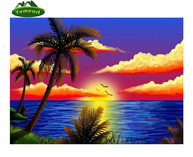 58 Koleksi pemandangan senja di tepi pantai lukisan HD Terbaik