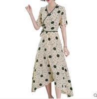 2019 women's fashion slim temperament irregular elegant silk dress