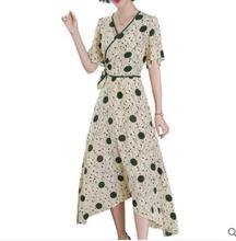 2019 vrouwen mode slim temperament onregelmatige elegante zijden jurk