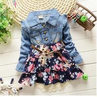 Bébé fille de denim jeans robes 2017 automne à manches longues fleurs petites filles princesse robes enfants en bas âge dress bébé vêtements