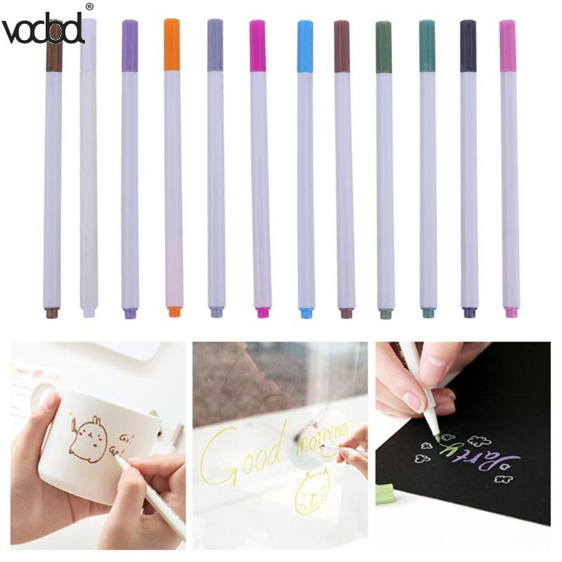 VODOOL 10pcs Colorful Doodle Drawing Marker Pens Metallic Pen For Black Paper Art Supplies Stationery Material School Brushes