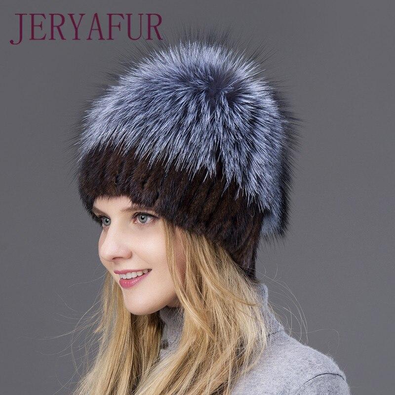 2019 offre spéciale mode hiver chaud femmes à tricoter casquettes vison chapeaux tissage Vertical avec fourrure de renard sur le dessus - 4