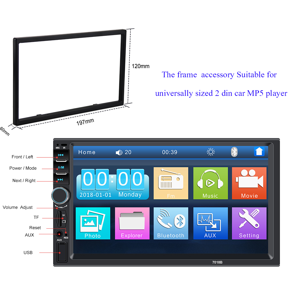 Radio-Player Frame Accessories Autoradio 7018B Univeral Suitable-For Car 7-2-Din Touch-Screen