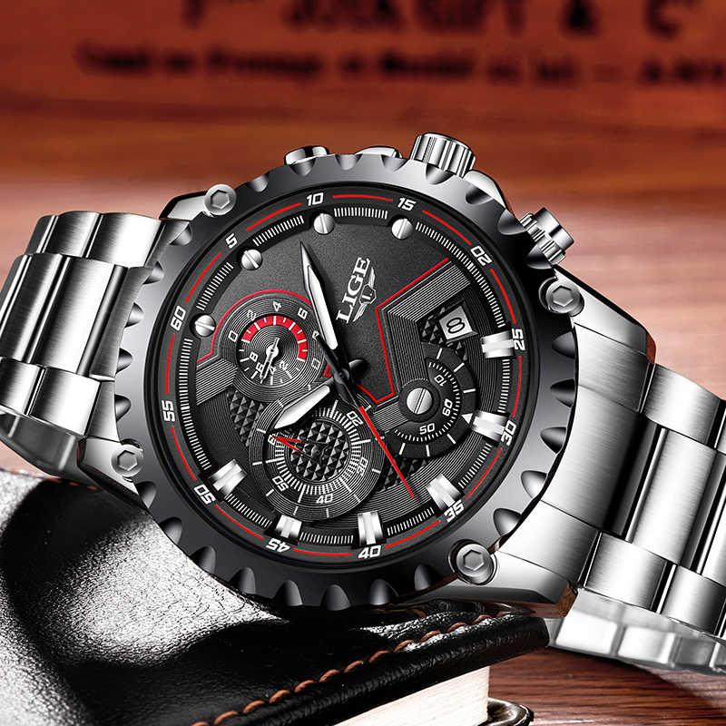 Relojes de moda para hombre marca LIGE reloj de cuarzo resistente al agua para hombre reloj de pulsera militar de acero completo reloj Masculino