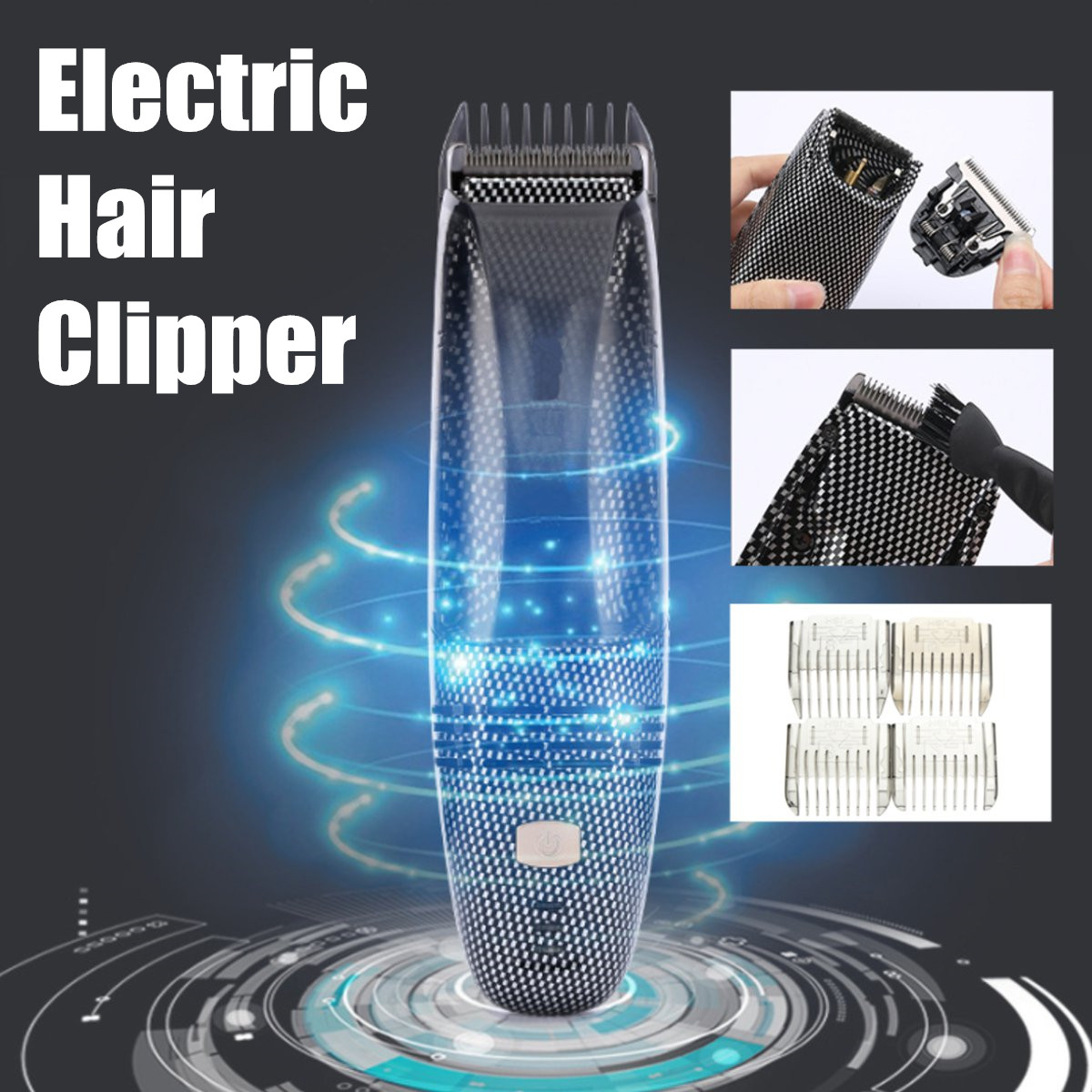 Electric Hair Clipper USB Rechargeable Automatic Hair Suction Washable