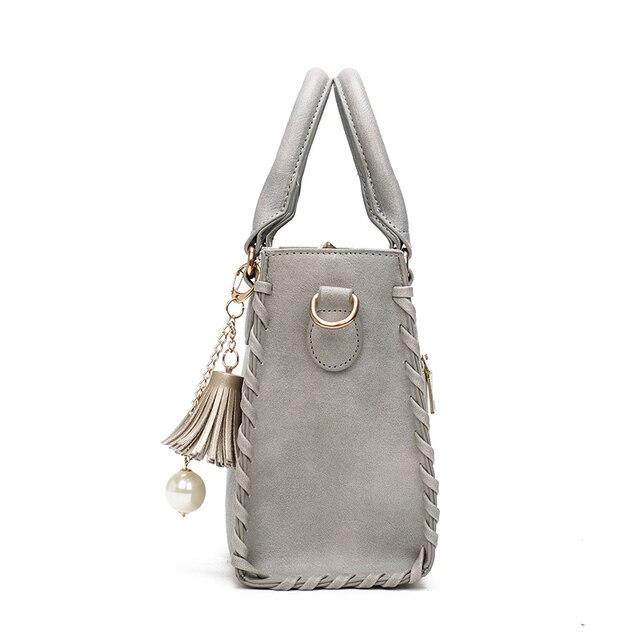 Women's Shoulder Bags Matte Leather Fashion Bag Brand Designer Ladies Handbag New Weave Tassel Women Casual Tote Bag sac a main