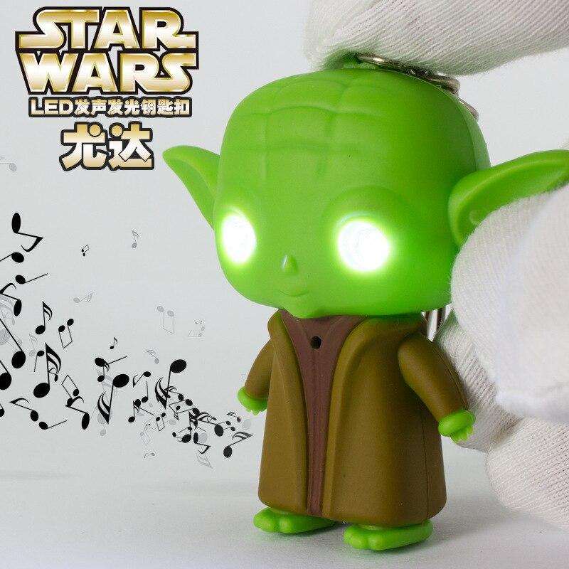 Marvel Starwars Figure Toy Yoda Darth Vader Stormtrooper Keychain LED Light Up Sound Novelty Toys Creative Gifts