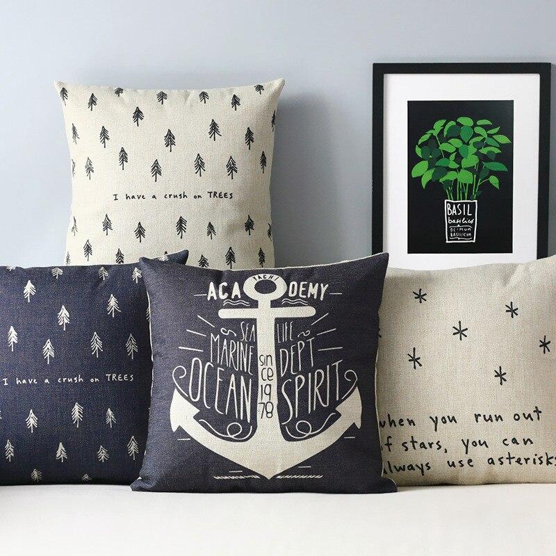 Nordic Creative Tree Pillow , Black White Forest Pillow Cushion , Linen Pillowcase,sofa Cushion Home Decorative Pillows