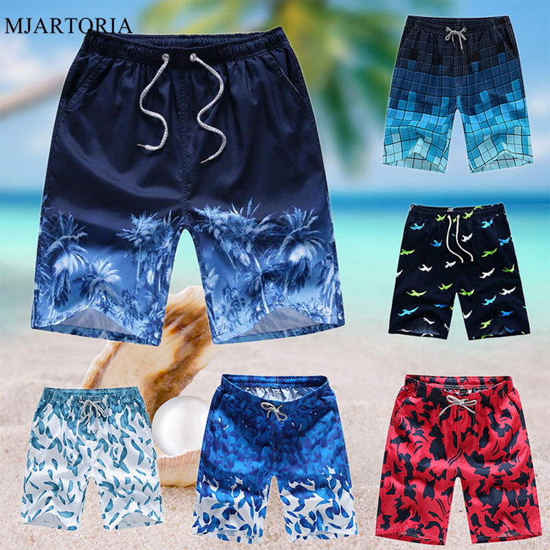 Print Shorts Dry-Board Drawstring Elastic-Waist Summer Casual Quick Masculina Loose Men