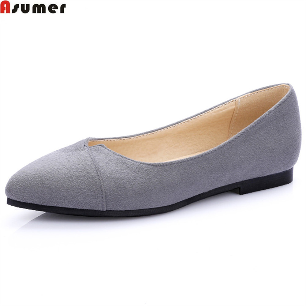 ASUMER black red fashion spring autumn ladies flat shoes woman pointed toe shallow casual women flock flats big size 34-43 lankarin brand 2017 summer woman pointed toe flats ladies platform fashion rivet buckle strap flat shoes woman plus size