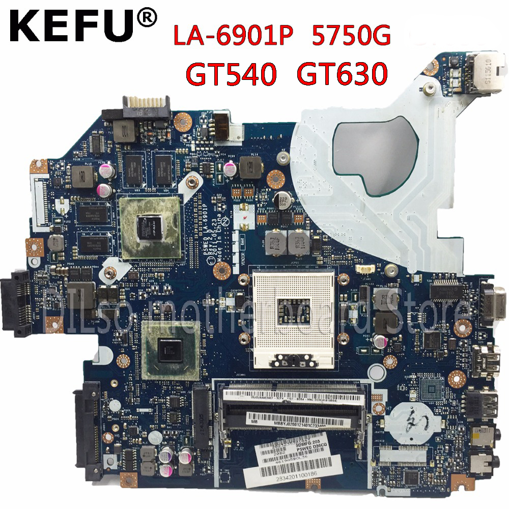 KEFU P5WE0 LA-6901P Motherboard For Acer 5750 5750G 5755 5755G Laptop Motherboard HM65 GT630M/GT540M Original Test Motherboard