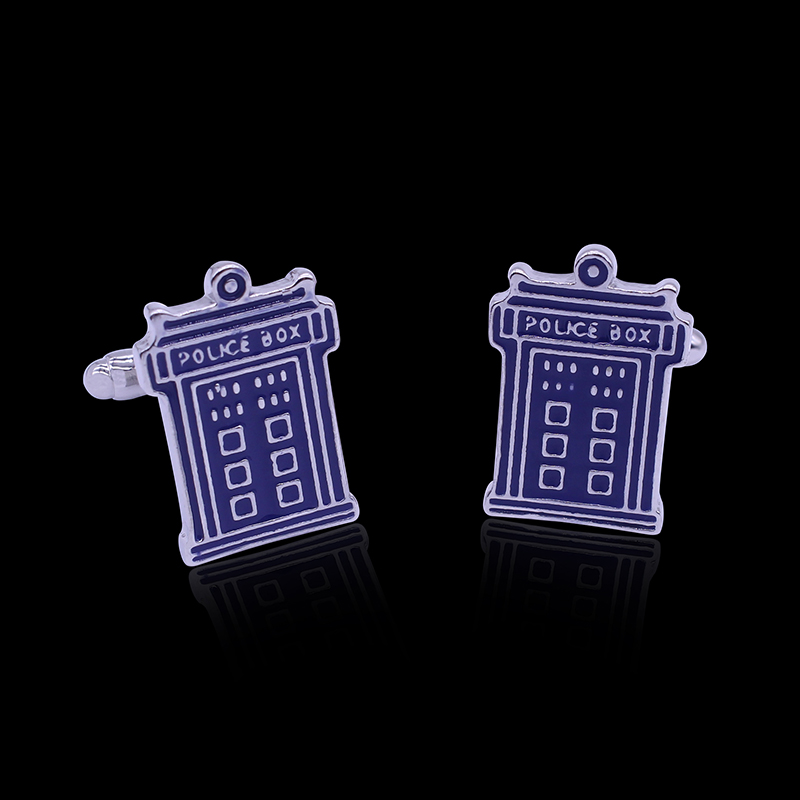 Doctor Who Blue Telephone Booth French T-Cufflinks TARDIS Cuff Link Classic Jewelry Movie Show Wholesale For Men Christmas Gift