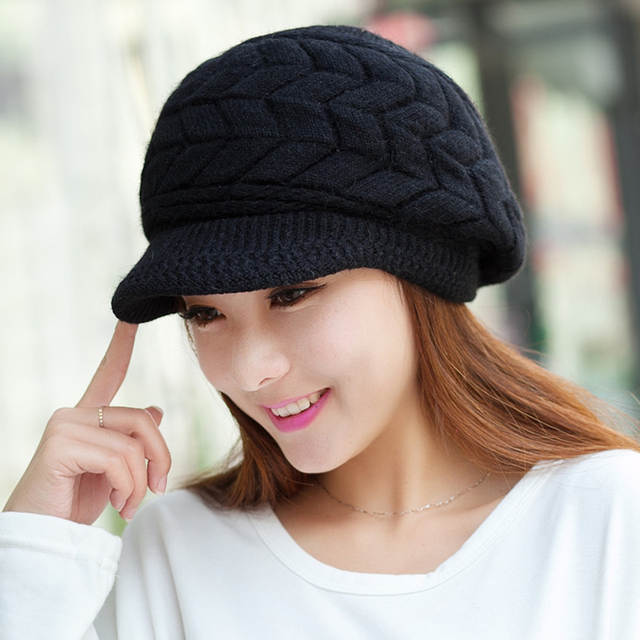 Fashion Elegant Women s Knitted Hats Brim Cap Beanie Bonnet Femme Hiver  Ladies Female Fashion Skullies Warm abbdc2c50db2