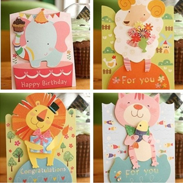 12pcs Mix Designs Cute Animals Kids Birthday Greeting Card With