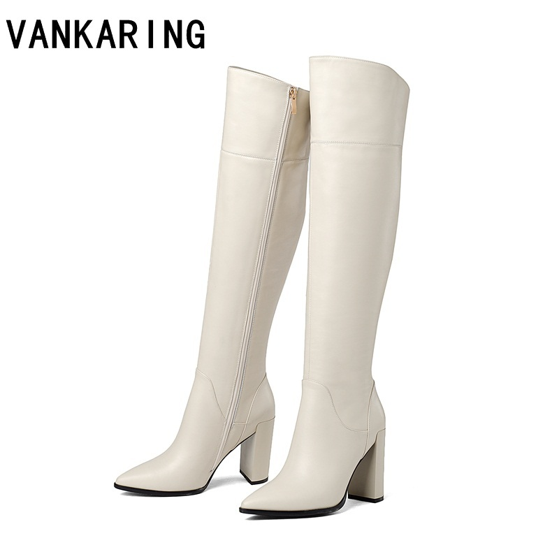 Vankaring 브랜드 신발 하이힐 가죽 카우보이 여성 드레스 신발 가을 겨울 부츠 여성 지적 발가락 활주로 겨울 눈 부팅-에서무릎 - 하이 부츠부터 신발 의  그룹 1