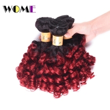 Wome Ombre Brazilian Loose Bouncy Curly Hair 2 Tone Hair Extensions 10″-26″ Hair Weave Bundles Bouncy Curly Human Hair