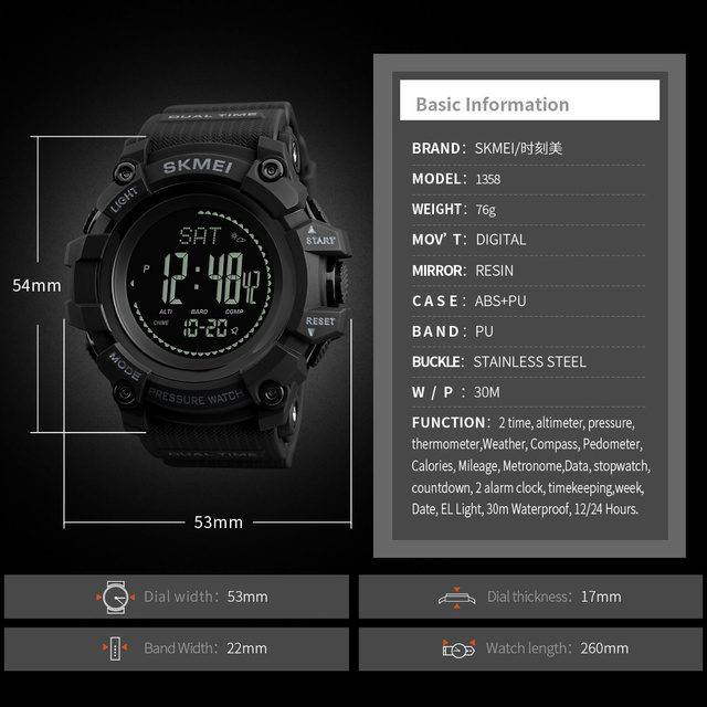 SKMEI Mens Sport Watch Fashion Men's Digital Watch Altimeter Barometer Compass Temperature Weather Electronic Luxury Men Watches 1