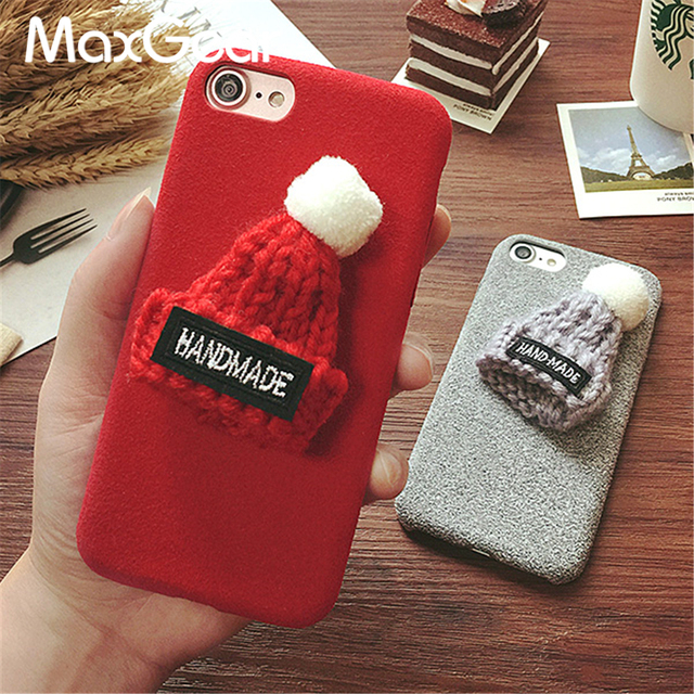 winter 3d christmas gift cute hat plush pc hard case for iphone 6 6s plus case