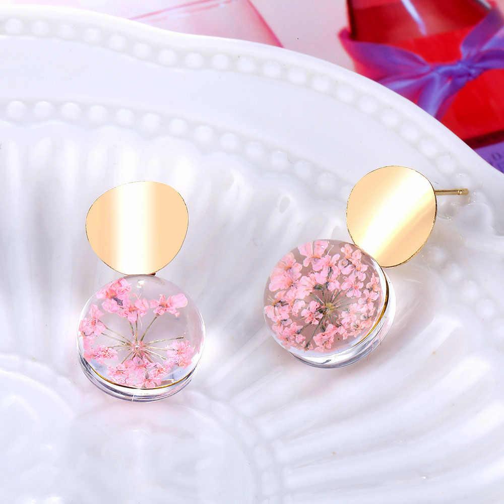 Sfera di Vetro trasparente Orecchini In Oro di Colore Paillettes Ciondola Appeso Orecchini Per Le Donne di Modo di Colore Rosa Fiori Secchi Gioielli Orecchini Da Sposa