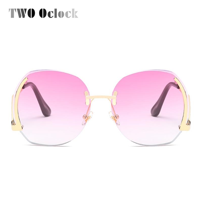 TWO Oclock Stylish Pink Transparent Round Sunglasses Women Oversized Rimless Sun Glasses Candy Color Eyewear Female Oculos X6504