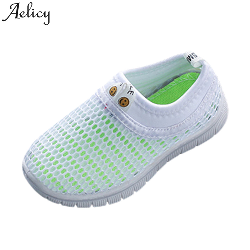SAGACE 2018 Hot New Fashion Light High Quality Children Kids Baby Boy Girl Shoes Candy Color Fabric Mesh Casual Sport Sneakers