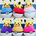 18CM Pokeball With Pikachu Plush Toys Cute Anime Pocket Monster Pikachu Soft Stuffed Doll Kawaii Ball 6 Styles christmas gift