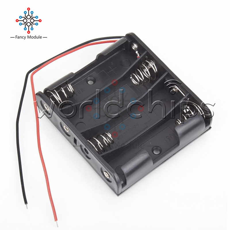 """Battery Storage Case Plastic 4 x AA Box Holder Black With 6\"""" Wire Leads Wholesale"""