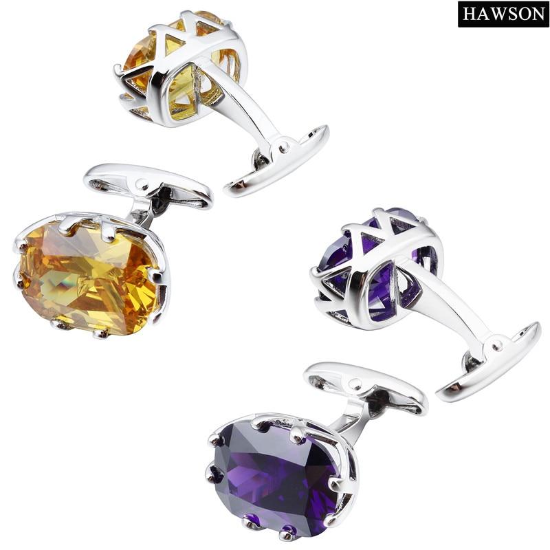 HAWSON Zircon Cuff links Luxury French Cufflinks for Mens Shirt - Fashion Jewelry - Photo 4