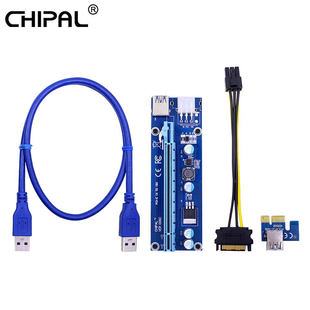 Chipal 10 pces ver006c 0.6m pci-e riser cartão pci express pcie 1x a 16x extensor usb 3.0 cabo 6pin power para mineração de bitcoin