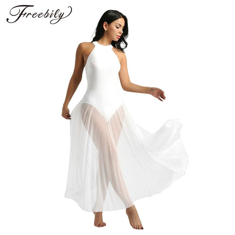 Women Adult Ballet Dance Dress Contemporary Modern Leotard Ballet Bodysuit Vintage Long Ballet Dress Ballerina Stage Dance Wear