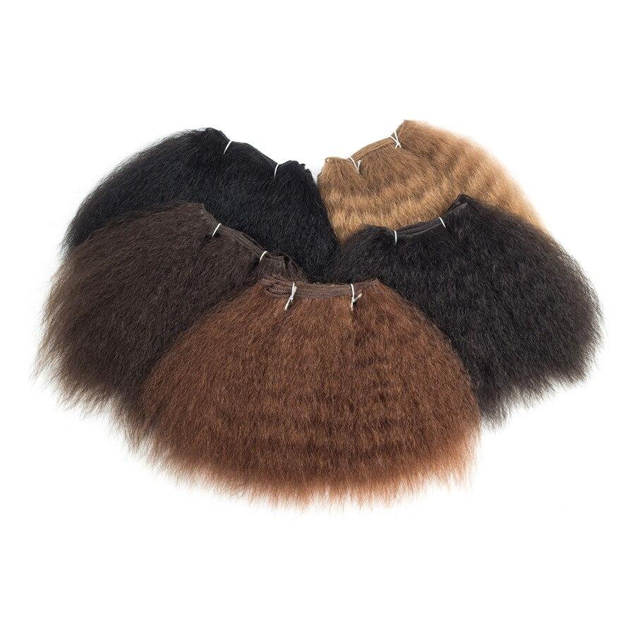 XCCOCO Kinky Straight Hair Bundles För Kvinnor 8inch 14inch Short - Syntetiskt hår