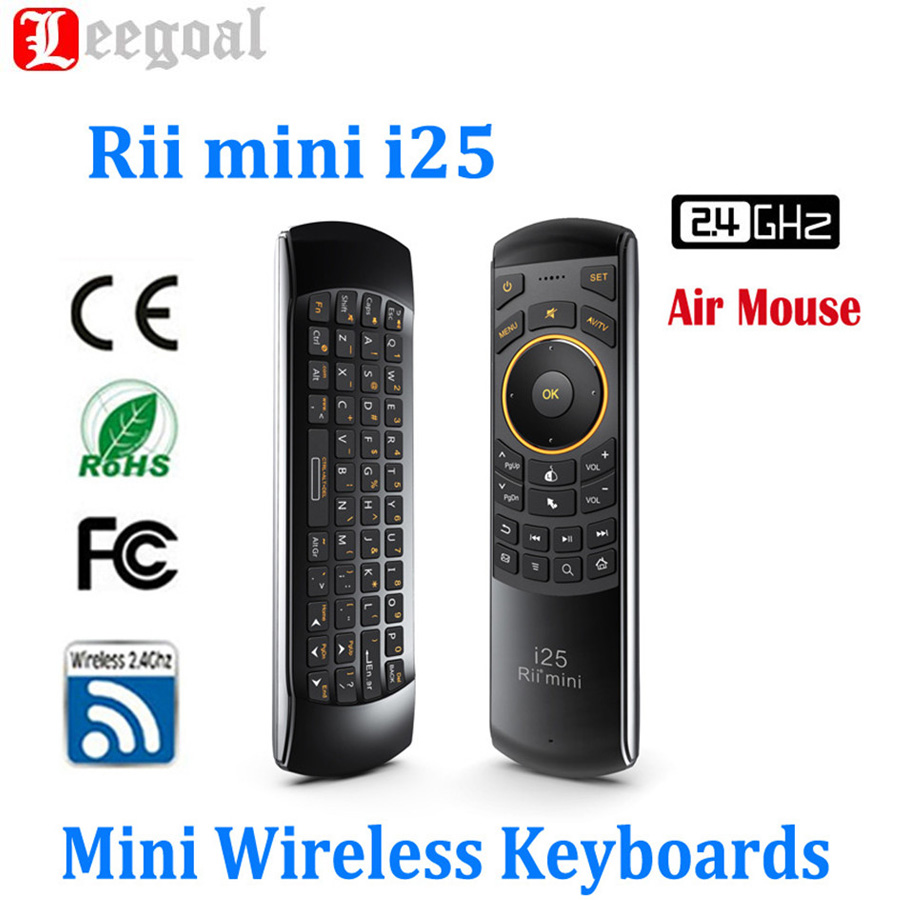 Rii i25 Air Fly Mouse English Russian Keyboard 2.4G Mini Wireless Keyboards Remote Controller For PC Tablet Smart Android TV Box wireless 2 4ghz 92 keys keyboard air mouse black russian