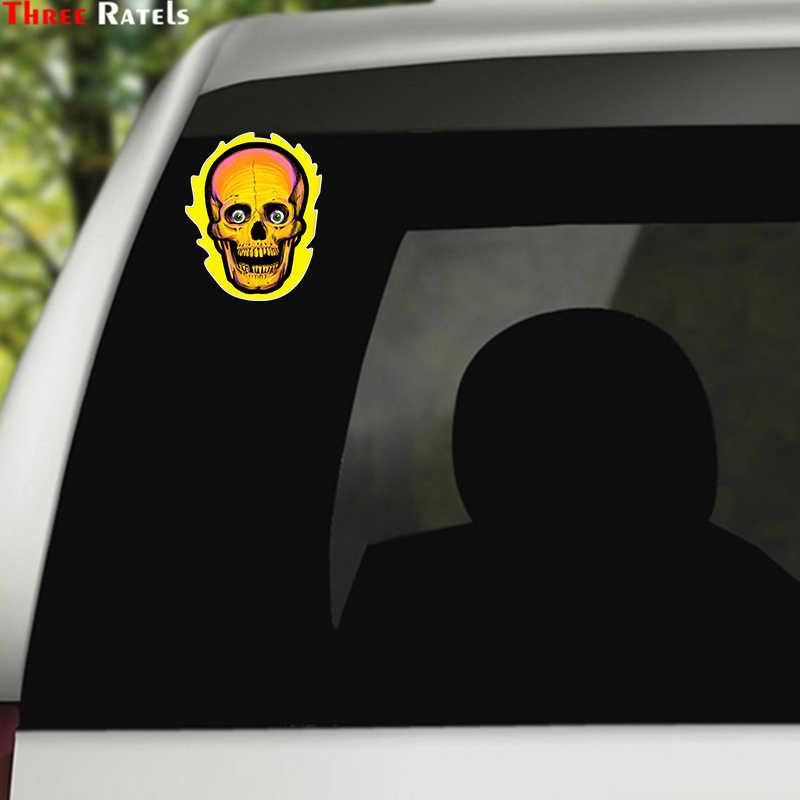 ثلاثة Ratels LCS441 #10.2x14 سنتيمتر الجمجمة على النار ملصقات السيارات مضحك ملصقات السيارات التصميم للإزالة ملصق مائي