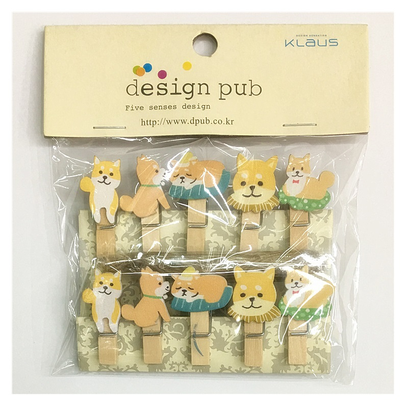 10Pcs/Set Kawaii Cute Shiba Dog Wooden Clip Photo Clothespin Craft Clips Party Decoration Clip With Hemp Rope