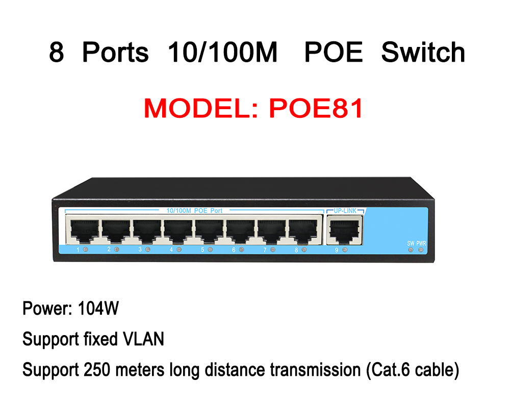 CCTV 8ch POE Switch 8 Ports Power Over Ethernet 1 RJ45 10/100M DC48V IEEE 802.3af/at Adaptive
