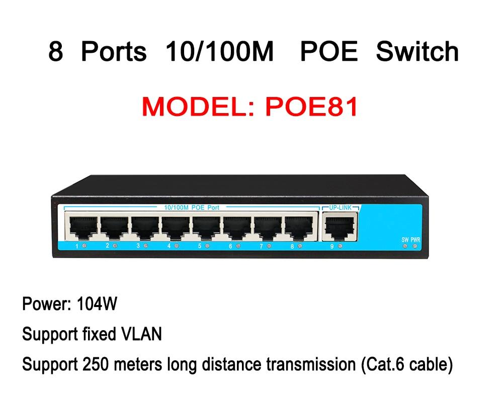 CCTV 8ch POE commutateur 8 ports alimentation sur Ethernet 1 RJ45 10/100 M DC48V IEEE 802.3af/at adaptatif
