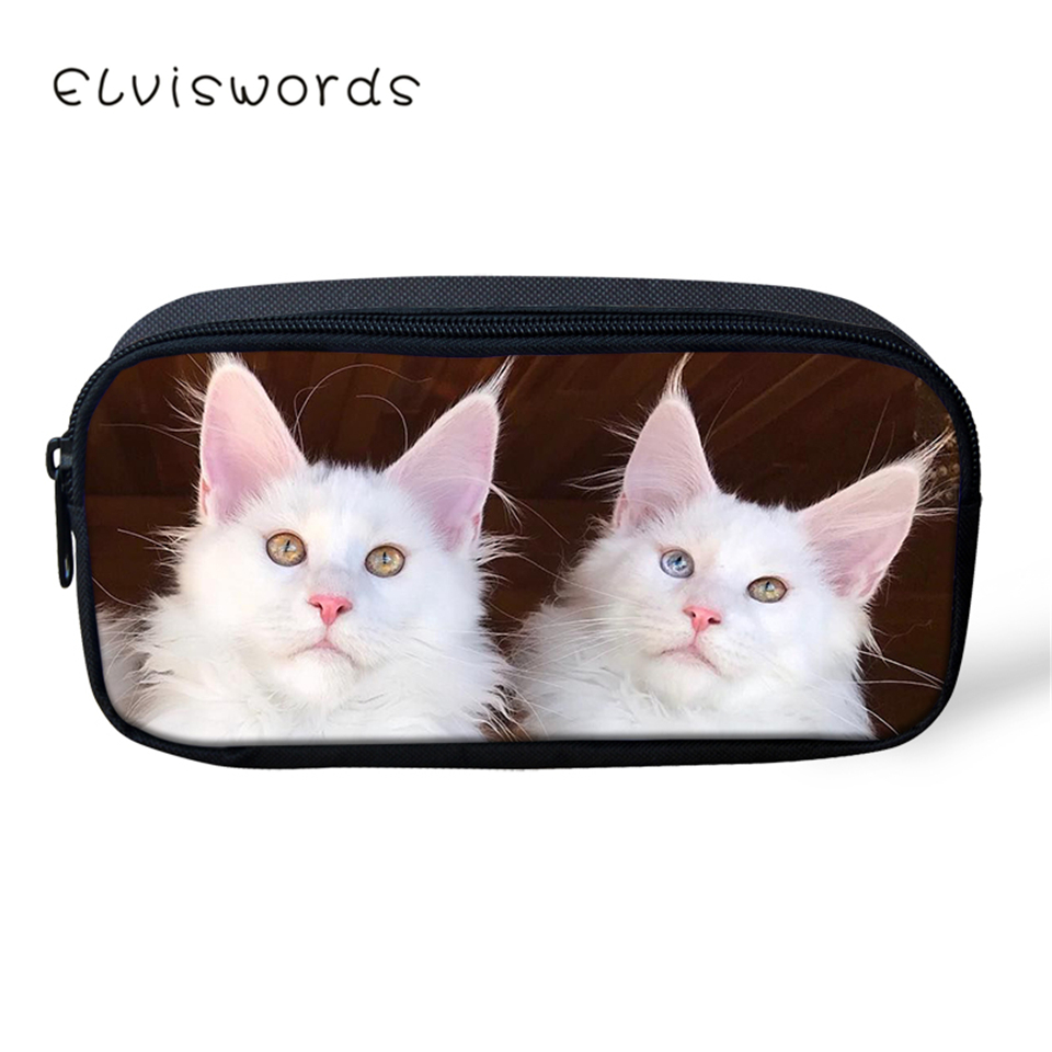 ELVISWORDS Kids Fashion Pencil Case White Angora Cats Pattern Students Stationery Box Cute School Pen Bags Women's Beauticians(China)