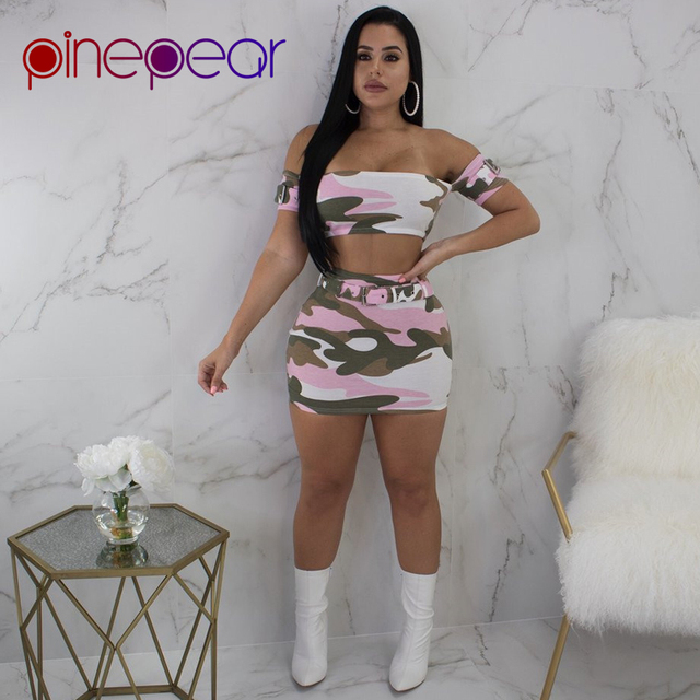 90caaeaaaf PinePear Camouflage Sexy Crop Top and Skirt Women 2 Two Piece Set Clubwear  2019 Summer Cute Pink Camo Street Party Club Wear
