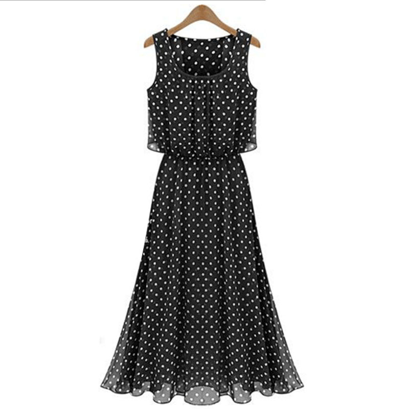 2017 summer sleeveless tank dresses women chiffon sexy perspective dot elatic wait large lower hem casual dress new arrival C007