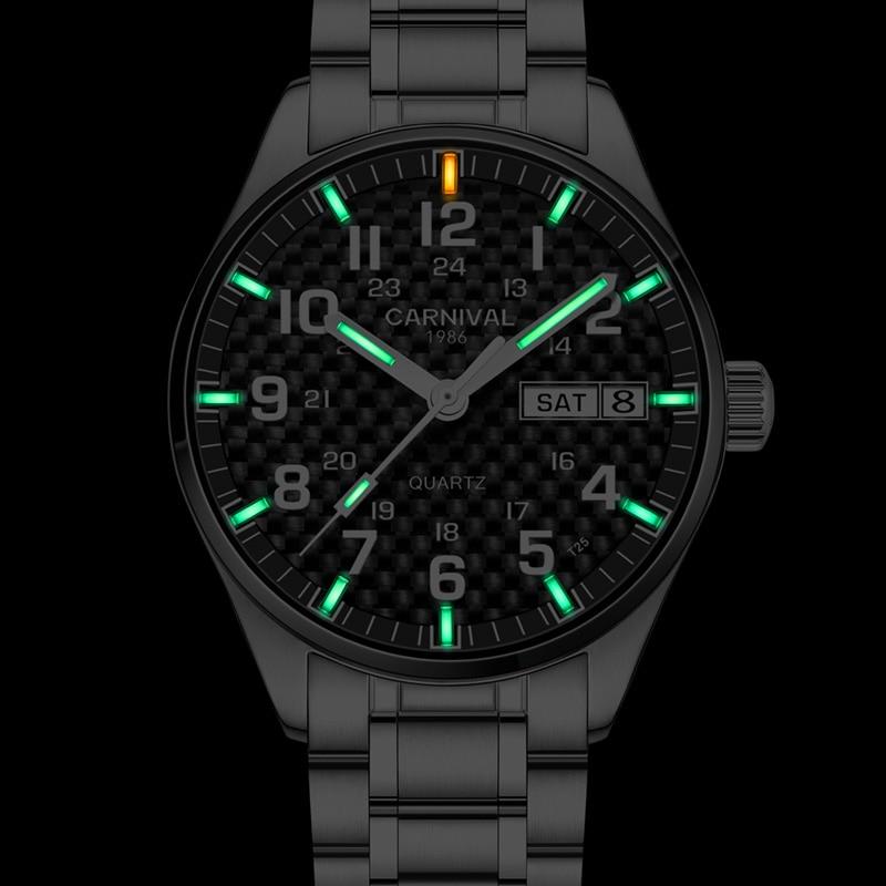 Carnival  Tritium Gas Luminous Quartz Watch Men Double Calendar Date Waterproof Military Waterproof Clock Full Stainless Steel
