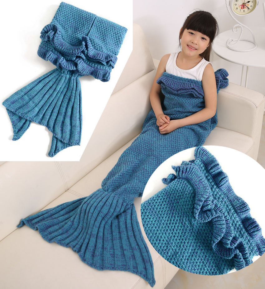 Children s Blanket Pattern Knitting : Aliexpress.com : Buy Children Kids Knitting Mermaid Tail Blanket Crochet Sire...