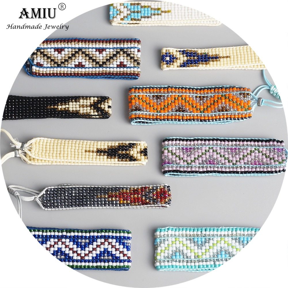 AMIU Handmade Bohemian Loom Woven Seed Beads Friendship Bracelet Woven Rope String Packing Sets 5 Pieces For Women Men vintage layered beads woven bracelet for women