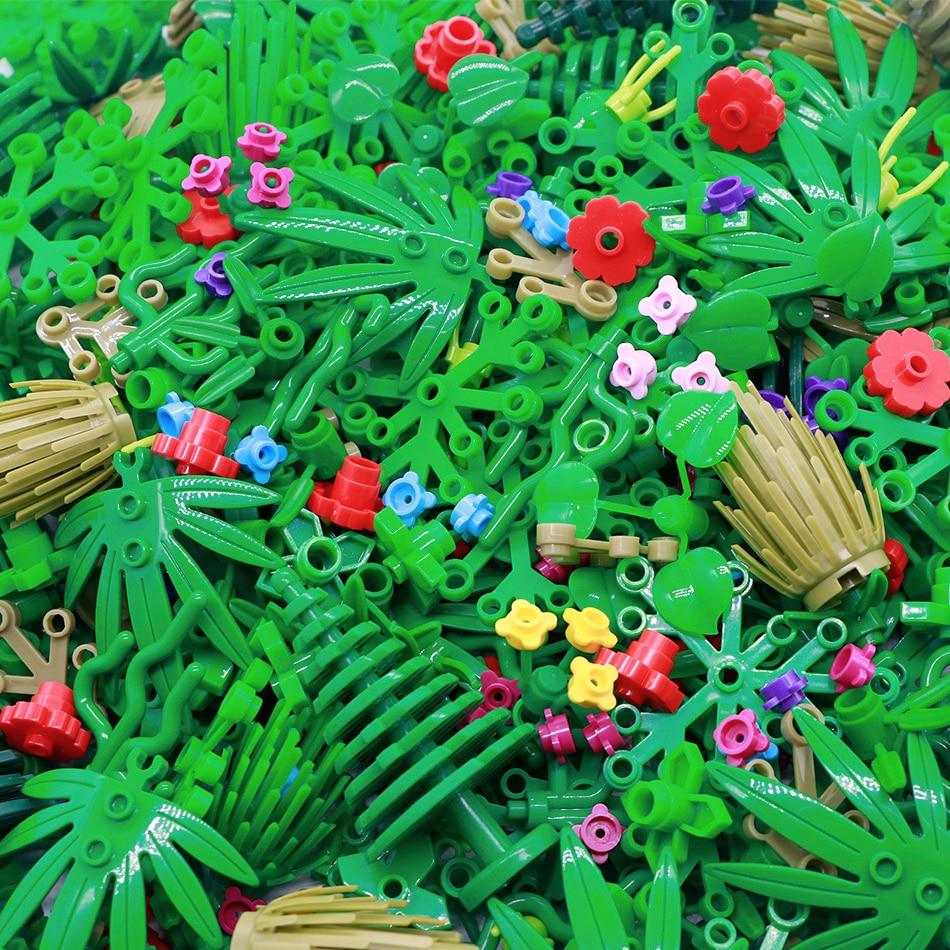 City Building Blocks Military Accessories Parts Lot Plant Tree Grass Flower Leaf Bush Bamboo Bulk Bricks Toys Compatible Legoed