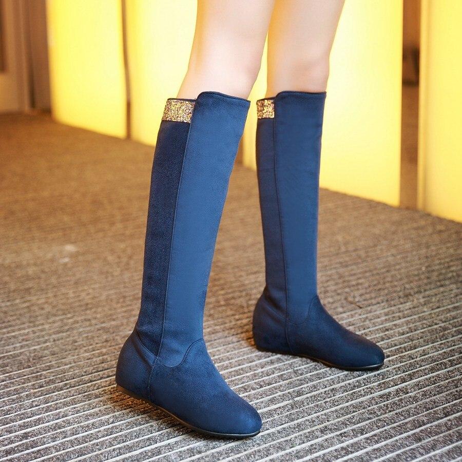 drop shipping New Fashion sexy knee boots low heels font b Women b font winter autumn